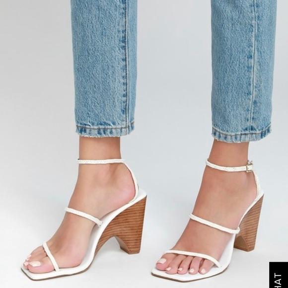 e18f1cbc5081 Lulu's Shoes | Jaggar Woven Wedge Cloud White High Heel Sandals ...